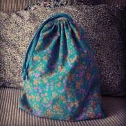tissu petit pan et popeline turquoise pour la doublure et le cordon