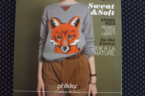 pull jacquard motif renard in catalogue Phildar automne hiver 2013-14