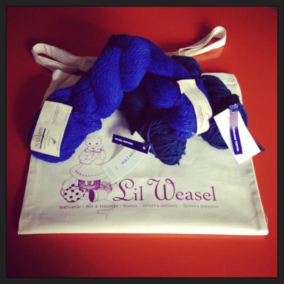 laines baby alpaga bleu klein Cascade et Malabrigo deep blue 100 % baby merino chez Lil'Weasel