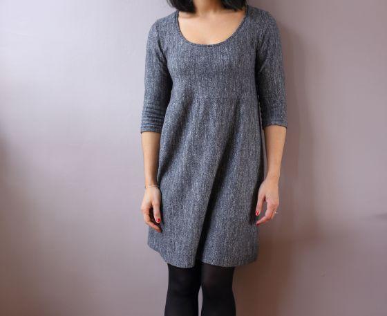 robe plantain sureau en jersey de laine gris chiné