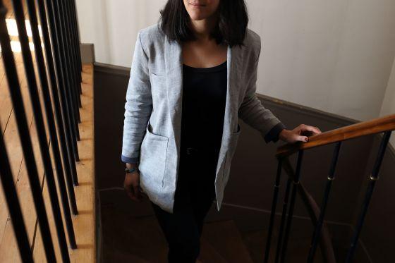 Michelle de République du Chiffon en coton chevrons gris bleuté