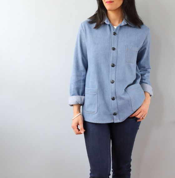 Archer button up de Grainline Studio version veste en jean- le coussin du singe